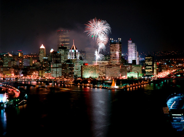 Pittsburgh Skyline with Fireworks